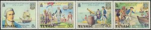 Tuvalu #117a, Complete Set, Strip of 4, 1979, Captain Cook, Never Hinged