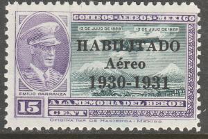 MEXICO C33, 15c HABILITADO 1930-1931, CAPT. E. CARRANZA. UNUSED, H OG