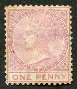 St Christopher SG1 1d Dull Rose Wmk CC Perf 12.5 Mint (Part Gum with toning)