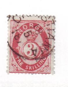 Norway Sc 18 1872 3 sk rose posthorn stamp used