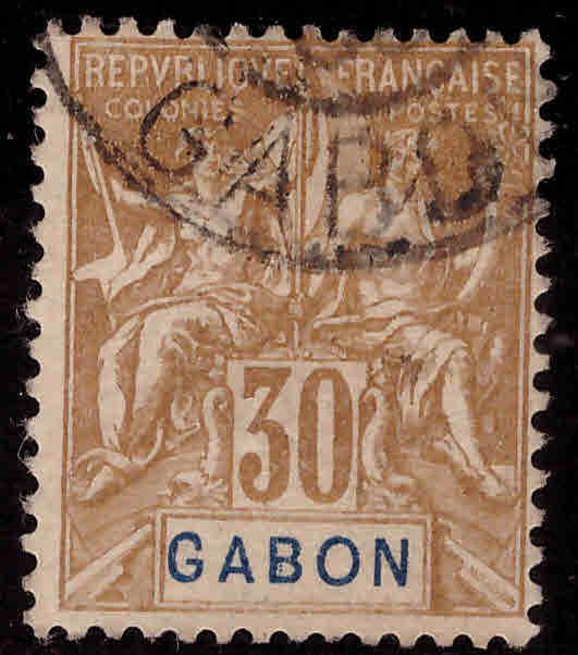 GABON Scott 24 Used Navigation and Commerce Collectors mark on back