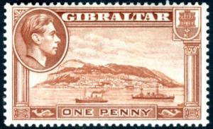 GIBRALTAR-1940 1d Yellow-Brown Perf 13½ (Upright Watermark) Sg 122a MOUNTED MINT