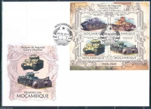 MOZAMBIQUE 2013 TANKS  OF WORLD WAR II    SHEET FIRST DAY COVER