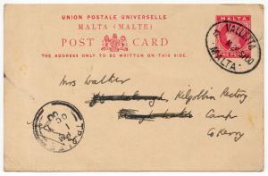 (I.B) Malta Postal : Postcard (Valetta to Tralee 1900)