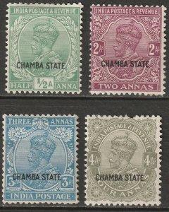 India Chamba 1927 Sc 51,53-5 partial set MH*/MNG