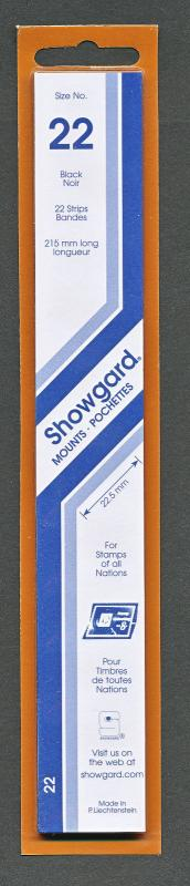 Showgard Stamp Mounts Size 22/215 BLACK Background Pack of 22