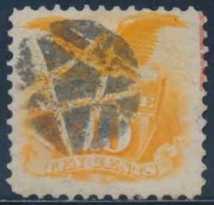 #116 VF 10¢ 1869 W/ 5 POINT STAR & PART RED FANCY CANCELS BU2004