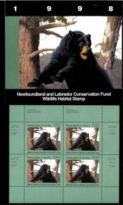 NEWFOUNDLAND #5M 1998 BLACK BEAR CONSERVATION STAMP MINI SHEET OF 4 IN FOLDER
