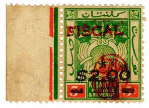 (I.B) Malaya States Revenue : Kelantan $2 on 5c OP (Japanese Occupation)