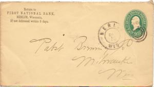 United States Wisconsin Berlin c1890 double ring cds  Postal Stationery Envel...