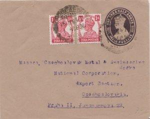 India 1a KGVI (2) on 1 1/2a KGVI Envelope 1947 Pollachi to Prague, Czechoslov...