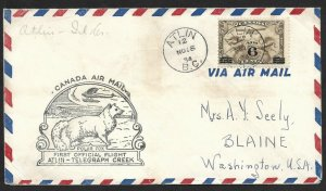 Doyle's_Stamps: Canadian Postal History: Atlin-Telegraph Creek 1st Flight Cover