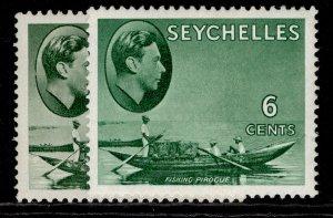 SEYCHELLES GVI SG137a + 137b, 6c SHADE VARIETIES, M MINT.