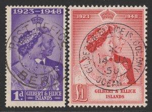 GILBERT & ELLICE ISLANDS 1948 KGVI Silver Wedding set 1d & £1.