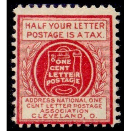 US - National One Cent Letter Postage Association Stamp - Type IV (#4)