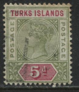 Turks Islands QV 1894 5d olive green & carmine used