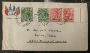 1926 Falkland Island Patriotic Cover To Boerne TX USA War Stamp Overprint