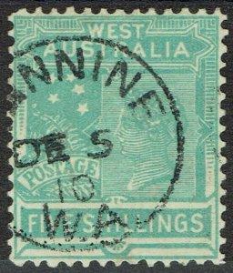 WESTERN AUSTRALIA 1905 QV 5/- WMK CROWN/A USED
