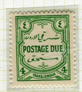 TRANSJORDAN; 1929 April early Postage Due issue fine Mint hinged 4m. value