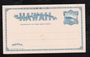 Hawaii #UY4 Very Fine Mint Paid Reply Postal Card Sapphire Unsevered