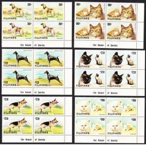 Philippines Cats and Dogs 6v Corner Blocks with Margins SG#1539-1544