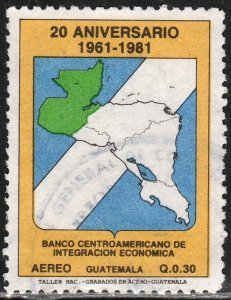 GUATEMALA C781, CENTRAL AMERICAN DEVELOPMENT BANK 20th ANNIV, USED, VF. (407)