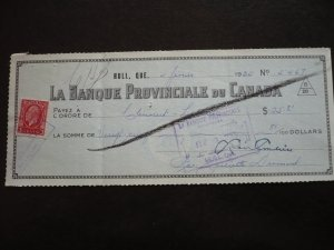 Canada - Revenue - KGV Medallion Issue stamp on Cheque dated 1935