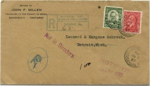 1933 NOT IN DIRECTORY NOTIFIED Registered Medallion issue cover Canada
