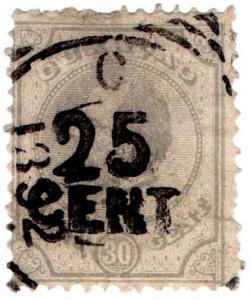 (I.B) Netherlands Antilles (Curacao) Postal : 25c on 30c OP