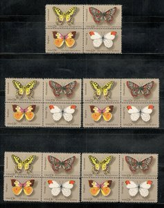 1712-15 Butterfly's Wholesale Lot Of 5 Blocks Of 4 (20 Stamps) MNH SHIPS FREE