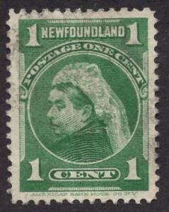 Newfoundland  #80  used   1897  Victoria  1ct  green