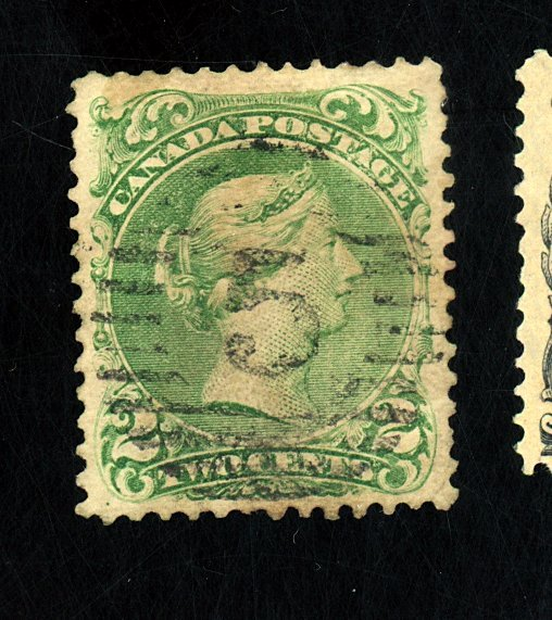 CANADA #24 USED F0VF BACK STAIN Cat $100