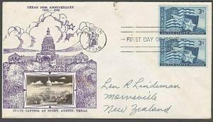 USA 1945 CROSBY photo FDC to New Zealand - 3c Texas........................55562