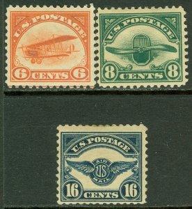 EDW1949SELL : USA 1918-23 Scott #C1, 4, 5 Mint Original Gum Hinged.