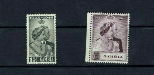 Gambia: 1948 Royal Silver Wedding, Mint very lightly hinged.