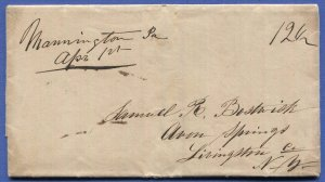 1841 stampless cover, Mannington, PA to Avon Springs, NY, 12 1/2c rate