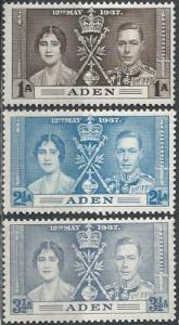 Aden 13-15 (mlh) Coronation issue (1937)