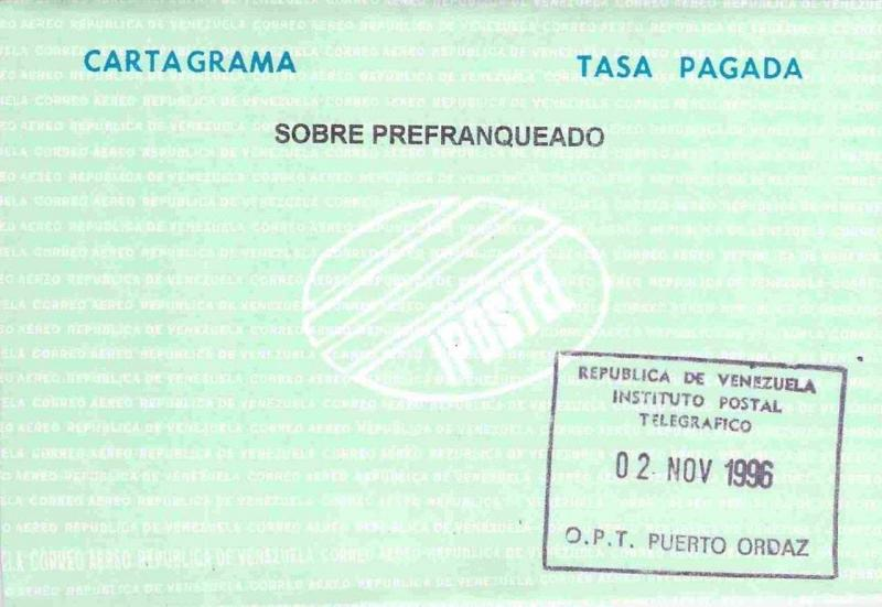 Venezuela Cartagrama Paid Rate Unused with 1996 Postal Telegrafico Hand Stamp