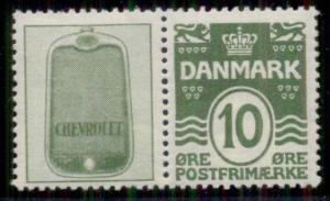 DENMARK (RE15) 10ore green, CHEVROLET advertising pair, og, XLH, VF