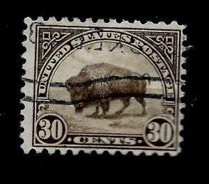 US 1922 Sc# 569 - 30 c Buffalo  USED H  - Light Cancel - Crisp Color