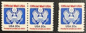 US # O135 Pair MNHOG + Single MNHOG - 20c Official 1983 [R799]