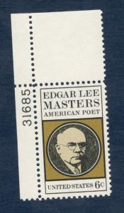 1405 Edgar Lee Masters Single W/Plate Number Mint/nh FREE SHIPPING