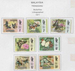 Malaysia Trengganu Scott 96-102  MH* Butterfly set