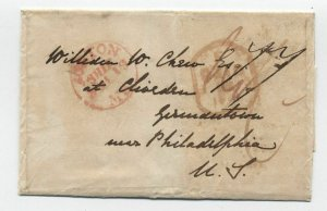 1841 Boston transatlantic stampless 77 rate to Germantown PA [45.106]