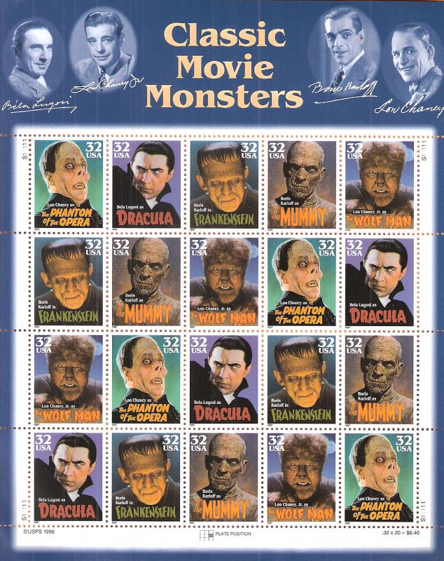 US unused Scott #'s 3168-3172 Classic Movie Monsters,  full sheet of 20,  CV 15