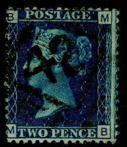 SG47, 2d dp blue plate 13, USED. Cat £30. MB