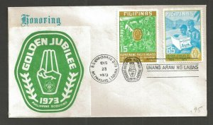 1973 Philippines Boy Scout Golden Jubilee Jamboree Imperf FDC