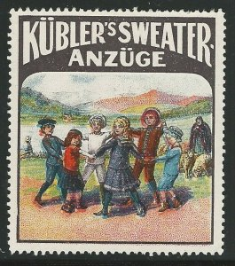 Kubler's Sweater and Suits, Early Germany Poster Stamp / Cinderella Label