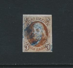 USA 1847, 5c VF USED Sc#1 +PSE CERTIFICATE (SEE BELOW)