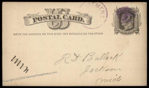USA 1877 Michigan MT CLEMENS Violet Cancel Postal Card Cover 96344